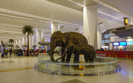 New Delhi, India - Nov 13, 2017. Elephant monument at Indira Gandhi Airport in New Delhi, India. The airport handled over 57.7 million passengers in fiscal year 2016-17.