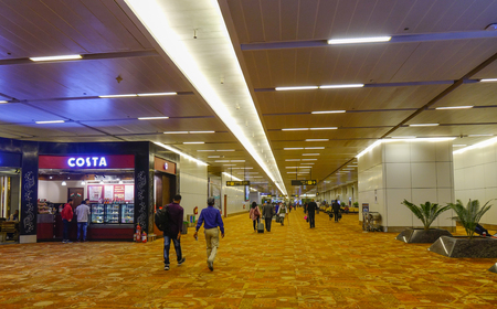 New Delhi, India - Nov 13, 2017. People walking at Indira Gandhi Airport in New Delhi, India. The airport handled over 57.7 million passengers in fiscal year 2016-17.