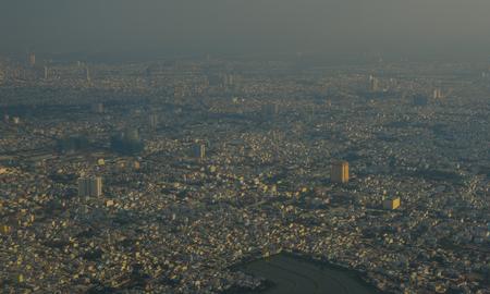 Aerial view of Saigon (called Ho Chi Minh City), Vietnam.
