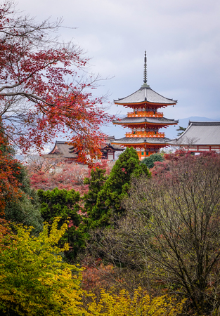 Part of Kiyomizu Temple with autumn trees in Kyoto, Japan. Editorial