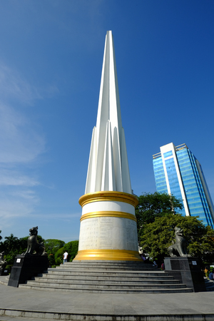 Yangon, Myanmar - Oct 16, 2015. View of Maha Bandula Park with Independence Monument in Yangon, Myanmar.