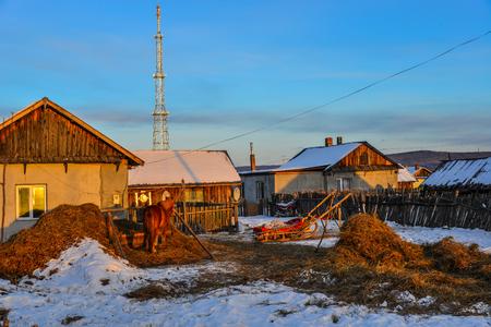 Heilongjiang, China - Feb 19, 2018. Snow village at winter in Heilongjiang Province, Northernmost China.