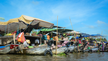 Mekong Delta, Vietnam - Feb 2, 2016. Nga Nam floating market in Mekong Delta, Vietnam. Nga Nam is one of many famous floating markets in the south of Vietnam. Editorial