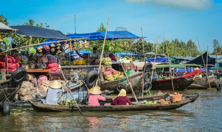 Mekong Delta, Vietnam - Feb 2, 2016. View of Nga Nam Floating Market during Lunar New Year in Mekong Delta, Vietnam. Editorial