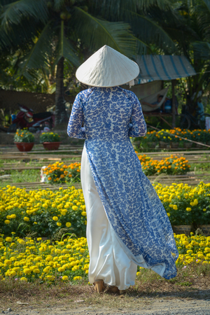 A Vietnamese woman in traditional dress (Ao Dai) standing at flower garden. Stock Photo