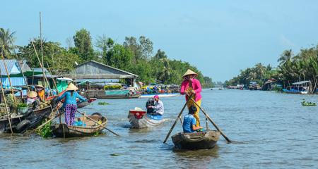 Mekong Delta, Vietnam - Feb 2, 2016. Wooden boats at Nga Nam floating market in Mekong Delta, Vietnam.