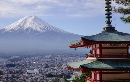 Mount Fuji and Chureito Pagoda at sunny day in autumn.