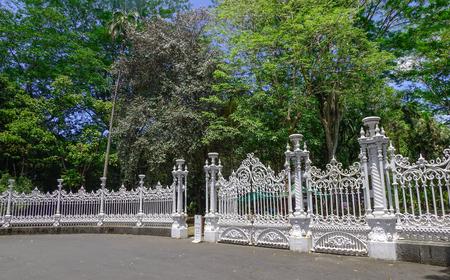 Port Louis, Mauritius - Jan 13, 2017. The gate of botanic garden in Port Louis, Mauritius. Port Louis is the country economic, cultural and political centre.