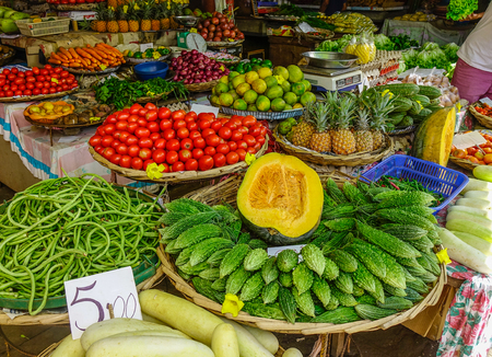 Port Louis, Mauritius - Jan 13, 2017. Local market in Port Louis, Mauritius. Port Louis is the country economic, cultural and political centre.