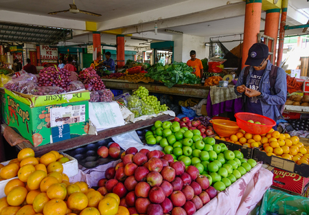 Port Louis, Mauritius - Jan 13, 2017. Fruit market in Port Louis, Mauritius. Port Louis is the country economic, cultural and political centre. Editorial