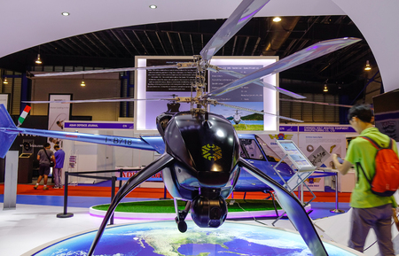 Singapore - Feb 11, 2018. Helicopter on display at the aviation equipment exhibition in Changi, Singapore.