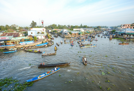 Can Tho, Vietnam - Feb 2, 2016. View of Cai Rang Floating Market in Can Tho, Vietnam. Most floating markets operating today mainly serve as tourist attractions.