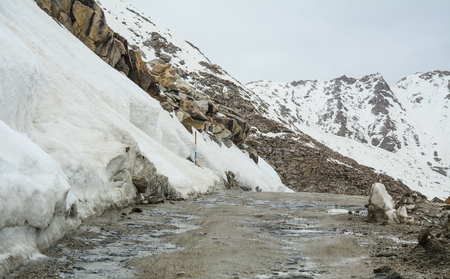 Dangerous snow road in Ladakh, India. Ladakh is the highest plateau in state of Jammu & Kashmir with much of it being over 3000m.