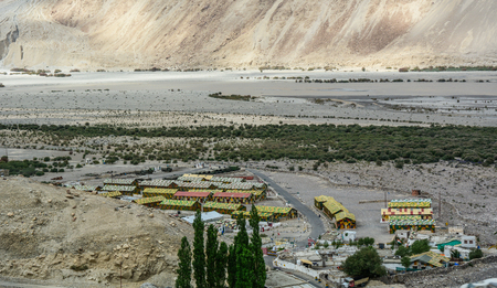 Ladakh, India - Jul 18, 2015. Military base in Ladakah, India. Ladakh was the connection point between Central Asia and South Asia when the Silk Road was in use.