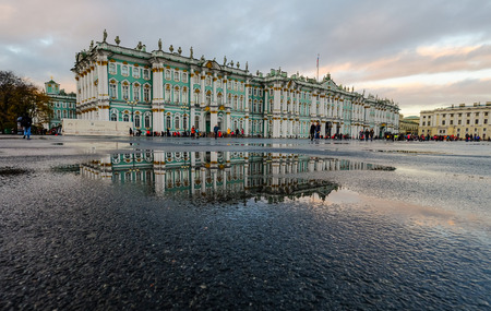 Saint Petersburg, Russia - Oct 15, 2016. View of Heritage Museum (Winter Palace) at sunset in Saint Petersburg, Russia.