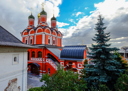 View of orthodox church at downtown in Moscow, Russia.