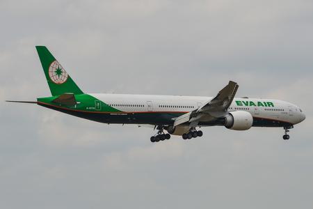 Saigon, Vietnam - Apr 15, 2018. A Boeing 777 airplane of Eva Air landing at Tan Son Nhat Airport (SGN) in Saigon (Ho Chi Minh City), Vietnam.