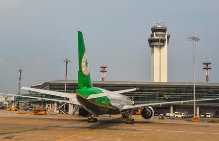 Saigon, Vietnam - May 5, 2018. Passenger airplanes docking at Tan Son Nhat Airport (SGN) in Saigon (Ho Chi Minh), Vietnam. Editorial