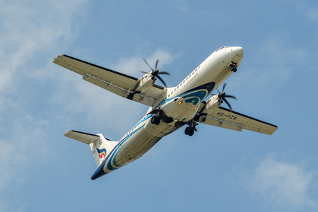 Bangkok, Thailand - Apr 21, 2018. An ATR 72 airplane of Bangkok Airways landing at Suvarnabhumi Airport (BKK) in Bangkok, Thailand.