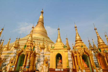 Yangon, Myanmar - Feb 26, 2016. Part of Shwedagon Pagoda in Yangon, Myanmar. Shwedagon is one of the most famous pagodas in the world.