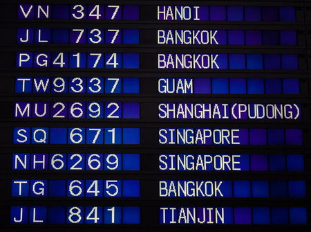 Airport board showing departures and arrivals to various cities. Editorial