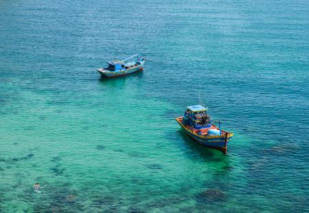 Kien Giang, Vietnam - Apr 6, 2018. Fishing boats on Nam Du Island at sunny day in Kien Giang, Vietnam.