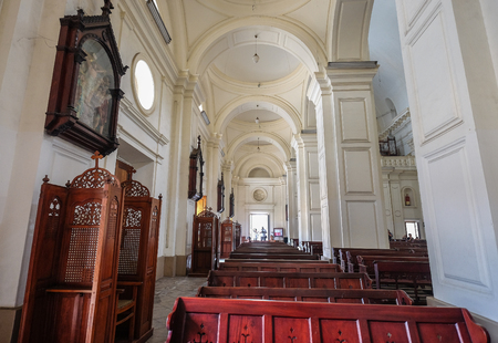 Galle, Sri Lanka - Sep 9, 2015. Interior of colonial church in Galle, Sri Lanka. Galle was the main port on the island in the 16th century.