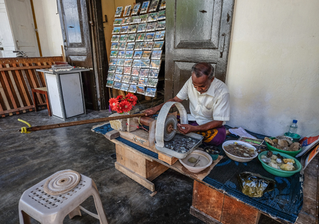 Galle, Sri Lanka - Sep 9, 2015. A man making jewelry in Galle, Sri Lanka. Galle was the main port on the island in the 16th century.