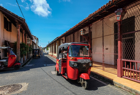 Galle, Sri Lanka - Sep 9, 2015. A tuk tuk taxi at old town in Galle, Sri Lanka. Galle was the main port on the island in the 16th century. Editorial