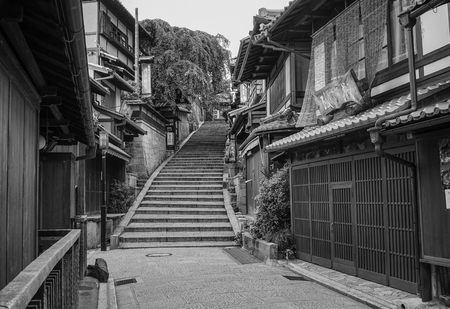 Kyoto, Japan - Jul 15, 2015. Traditional houses at Sannenzaka Old Town in Kyoto, Japan. Kyoto was the Imperial capital of Japan for more than one thousand years.