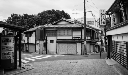 Kyoto, Japan - Jul 15, 2015. Wooden houses at Sannenzaka Old Town in Kyoto, Japan. Kyoto was the Imperial capital of Japan for more than one thousand years. 報道画像