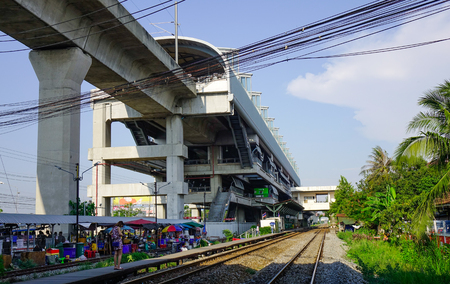 Bangkok, Thailand - Apr 21, 2018. Lat Krabang Station in Bangkok, Thailand. Skytrain is one of the most convenient methods to travel around Bangkok.