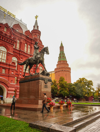 Moscow, Russia - Oct 4, 2016. View of Monument to Marshal Zhukov with State Historical Museum near Red Square in Moscow, Russia. Editorial