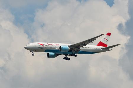 Bangkok, Thailand - Apr 21, 2018. A Boeing 777-200ER airplane of Austrian Airlines landing at Bangkok Suvarnabhumi Airport (BKK).