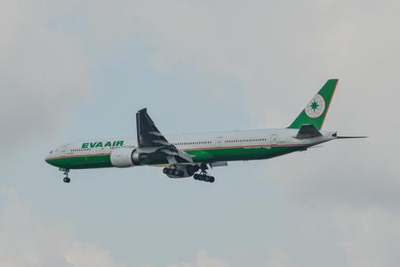 Bangkok, Thailand - Apr 21, 2018. A Boeing 777-300ER airplane of EVA Air landing at Bangkok Suvarnabhumi Airport (BKK).