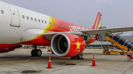 Dalat, Vietnam - Apr 17, 2018. A passenger airplane of Vietjet Air docking at Lien Khuong Airport (DLI) in Dalat, Vietnam.