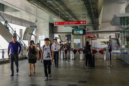 Bangkok, Thailand - Apr 21, 2018. People at Siam BTS Station in Bangkok, Thailand. BTS or Skytrain is one of the most convenient methods to travel around Bangkok.