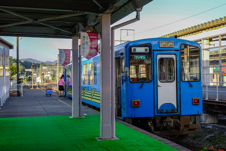 Akita, Japan - Sep 26, 2017. A local train at JR station in Akita, Japan. Railways are the most important means of passenger transportation in Japan. 写真素材