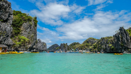 Seascape of Palawan Island, Philippines. Palawan is the island of wonderful scenery and idyllic tropical beauty.