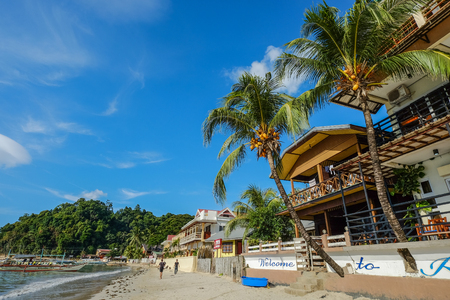 Palawan, Philippines - Apr 5, 2017. Seaside hotels with sand beach in Palawan, Philippines. Palawan is the island of idyllic tropical beauty.