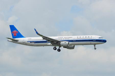 Saigon, Vietnam - Jun 24, 2018. A passenger airplane of China Southern Airlines landing at Tan Son Nhat Airport (SGN) in Saigon (Ho Chi Minh City), Vietnam. Editorial