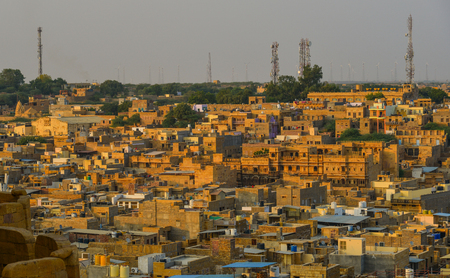 Jaisalmer, India - Nov 8, 2017. Aerial view of Jaisalmer, India. Jaisalmer is a former medieval trading center and a princely state in Rajasthan.