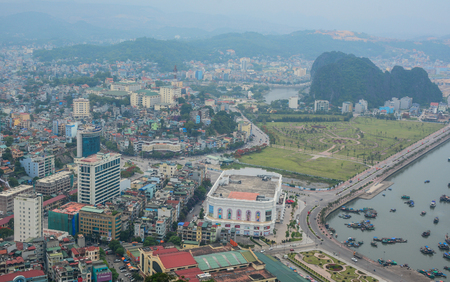 Ha Long, Vietnam - May 23, 2016. Aerial view of Ha Long, Vietnam. Ha Long a city on northern coast is a jumping-off point for Ha Long Bay. Editorial