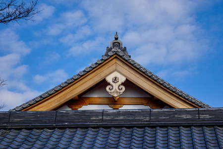 Top of ancient Buddhist temple in Kyoto, Japan. Stock Photo