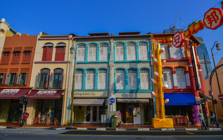 Singapore - Mar 12, 2016. Old buildings located in Chinatown, Singapore. Singapore Chinatown is a world famous bargain shopping destination. Editorial