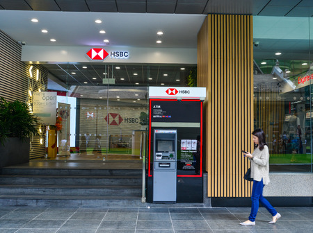 Singapore - Feb 9, 2018. Branch of HSBC Bank in Singapore. The economy of Singapore is a highly developed free-market economy.