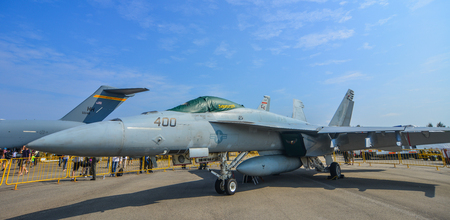 Singapore - Feb 10, 2018. Boeing FA-18E Super Hornet of United States Air Force (USAF) on display in Changi, Singapore. Editorial