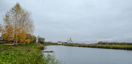 View of Suzdal Ancient Town with the river at autumn in Vladimir, Russia. Stock Photo