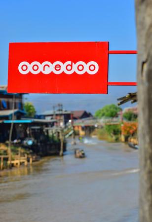 Inle Lake, Myanmar - Feb 7, 2018. Logo of Ooredoo at floating village on Inle Lake, Myanmar. Inle Lake a freshwater lake located in Shan State.