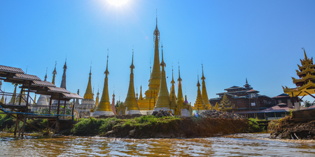 Ancient Buddhist temple on Inle Lake in Shan State, Myanmar. Reklamní fotografie